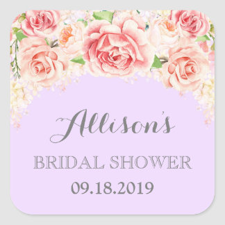 Lilac Pink Watercolor Flowers Bridal Shower Square Sticker
