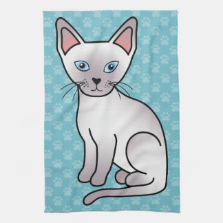 Lilac Point Siamese Breed Cat Cartoon Drawing Tea Towel