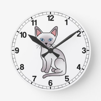 Lilac Point Siamese Cat Round Clock