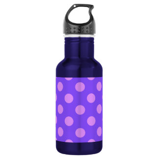 Lilac polka dots on periwinkle 532 ml water bottle
