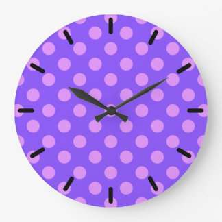 Lilac polka dots on periwinkle clock