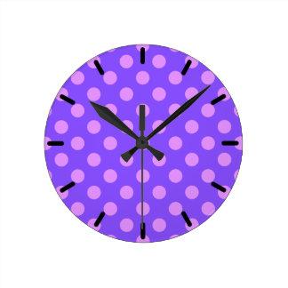Lilac polka dots on periwinkle wallclock