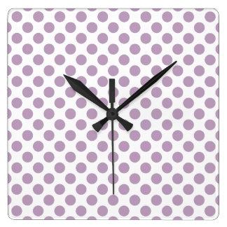 Lilac Polka Dots Square Wall Clock