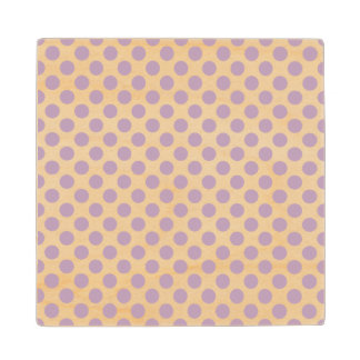 Lilac Polka Dots Wood Coaster