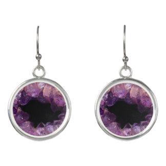 Lilac Purple Amethyst Geode Stone Image Earrings