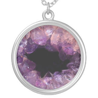 Lilac & Purple Amethyst Geode Stone Image Necklace