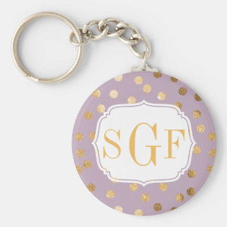 Lilac Purple and Gold Glitter Monogram Key Chain