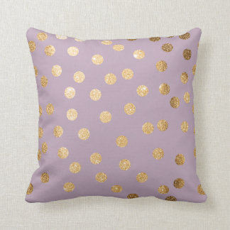Lilac Purple and Gold Glitter Polka Dot Pillow Throw Cushion