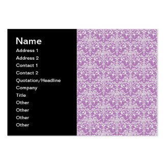 Lilac Purple and White Floral Damask Pattern Pack Of Chubby Business Cards