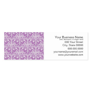 Lilac Purple and White Floral Damask Pattern Pack Of Skinny Business Cards