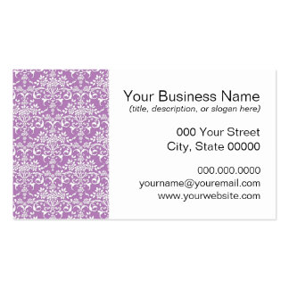 Lilac Purple and White Floral Damask Pattern Pack Of Standard Business Cards