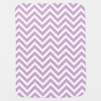 Lilac Purple and White Zigzag Chevron Stripes Baby Blanket