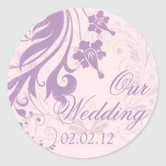 Lilac Purple Blush Floral Wedding Envelope Seal Round Sticker