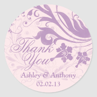 Lilac Purple Blush Floral Wedding Thank You Favor Classic Round Sticker