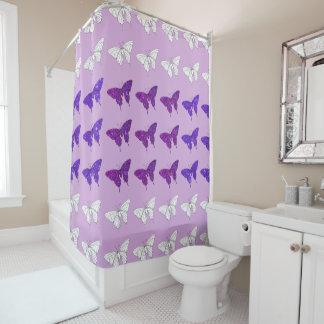 Lilac Purple Butterflies Glittery Bath Bathroom Shower Curtain