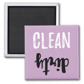 Lilac Purple Clean Dirty Dishwasher Brush Stroke Square Magnet