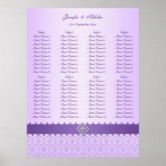 Lilac & Purple Damask Ribbon Wedding Seating Chart Poster
