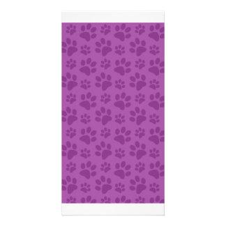 Lilac purple dog paw print pattern photo cards