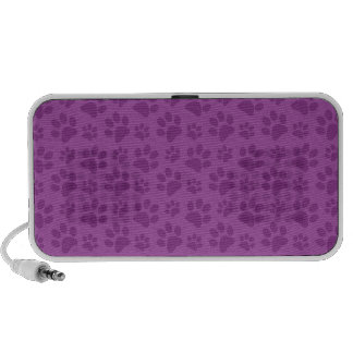 Lilac purple dog paw print pattern notebook speaker