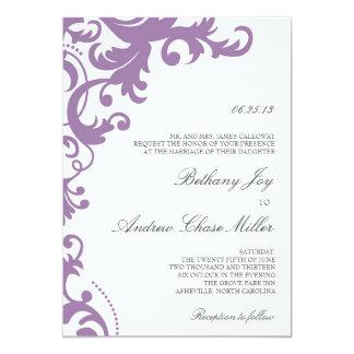Lilac Purple Elegant Damask Wedding Invitation