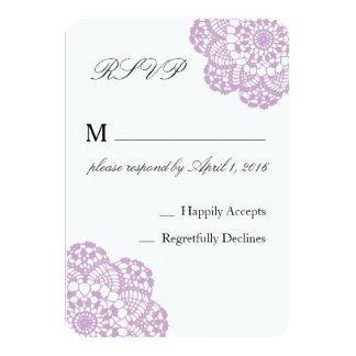 Lilac Purple Lace RSVP card