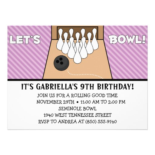 Lilac Purple Let's Bowl Bowling Birthday Party Announcements