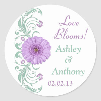 Lilac Purple Mint Floral Wedding Stickers