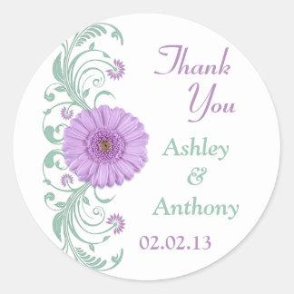 Lilac Purple Mint Floral Wedding Thank You Favor Round Sticker