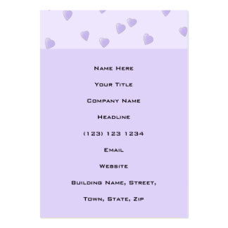 Lilac Purple Pattern of Love Hearts. Business Card Template