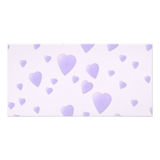 Lilac Purple Pattern of Love Hearts. Photo Card Template