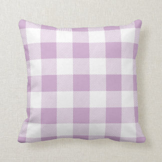 Lilac Purple Preppy Buffalo Check Plaid Cushion