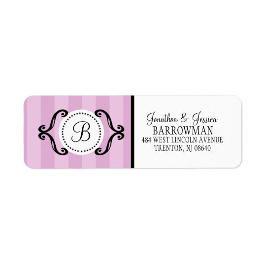 Lilac Purple Sweet Charming Striped Personalizedg Return Address Label