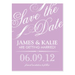 Lilac Purple Vintage Script Save the Date Post Cards