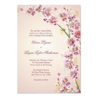 Lilac purple watercolor flowers wedding invitation