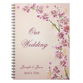 Lilac purple watercolor flowers wedding planner notebooks