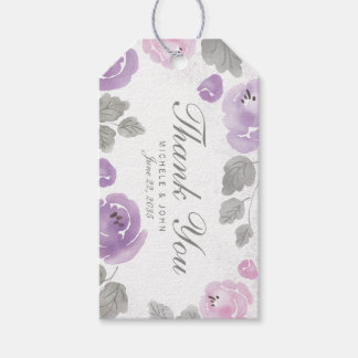 Lilac Purple Watercolor Roses Thank You Gift Tags