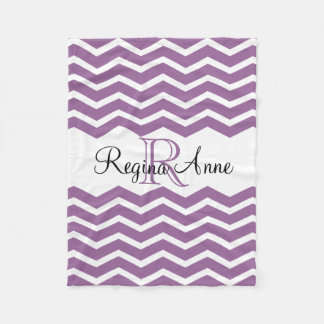Lilac Purple/White Monogram Name Keepsake Chevron Fleece Blanket