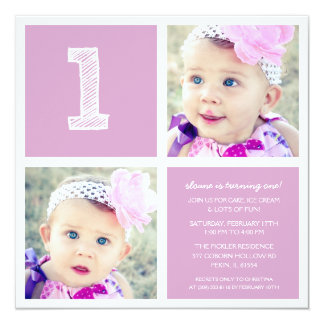 Lilac Room for Squares First Birthday Party Photo 13 Cm X 13 Cm Square Invitation Card