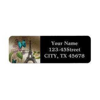lilac scripts modern vintage paris eiffel tower return address label