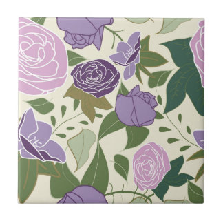 lilac silk roses ceramic tile
