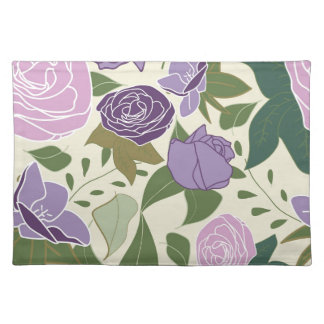lilac silk roses placemat