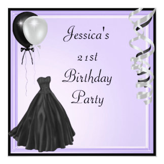 Lilac Silver Black Balloons Formal 21st Birthday Card
