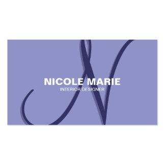 Lilac Simple Monogram Business Card