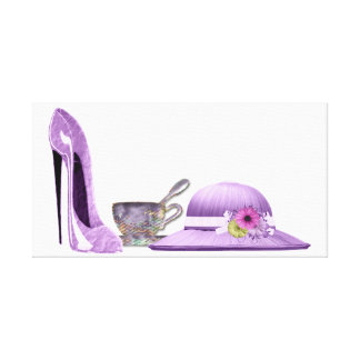 Lilac Stiletto, Hat and Teacup Canvas Print