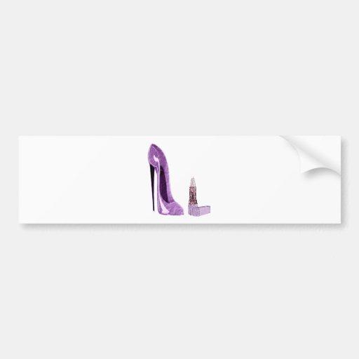 Lilac Stiletto Shoe and Lipstick Art Bumper Stickers
