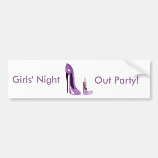 Lilac Stiletto Shoe and Lipstick Art Bumper Sticker