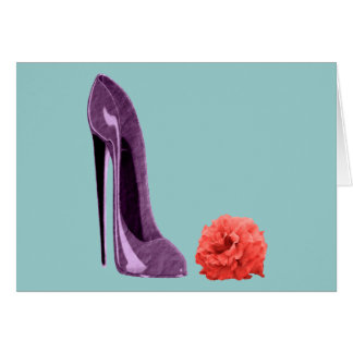 Lilac Stiletto Shoe and Rose Art Greeting Card