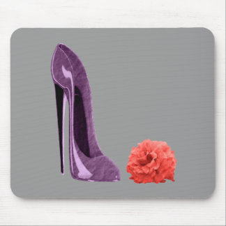 Lilac Stiletto Shoe and Rose Art Mouse Pad