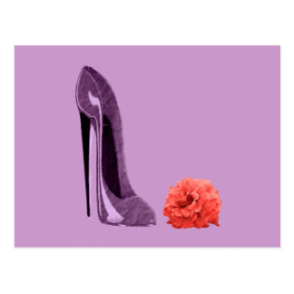 Lilac Stiletto Shoe and Rose Art Postcard