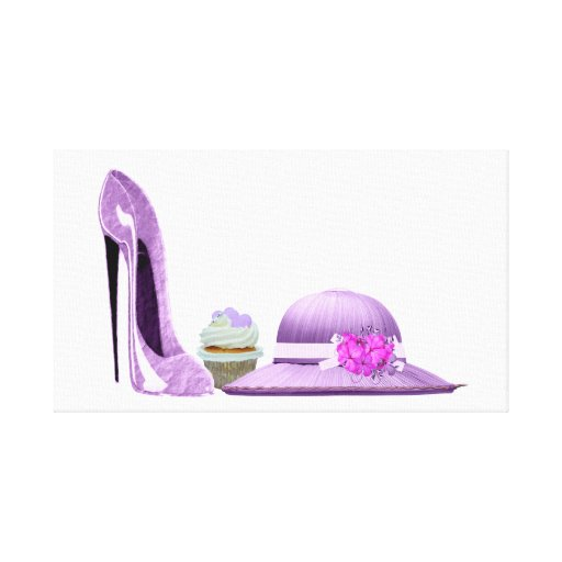 Lilac stiletto shoe, cupcake and hat canvas art stretched canvas print